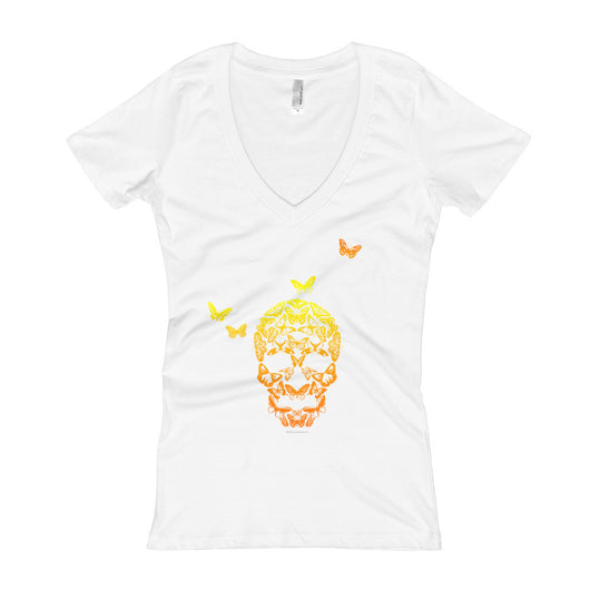 Butterfly Skull Women's V-Neck T-Shirt + House Of HaHa Best Cool Funniest Funny T-Shirts