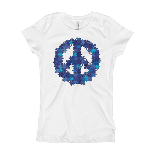 Puzzle Peace Sign Autism Spectrum Asperger Awareness Girl's Princess T-Shirt + House Of HaHa