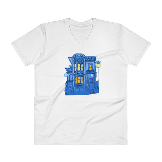 Blue Victorian San Francisco V-Neck T-Shirt by Nathalie Fabri + House Of HaHa Best Cool Funniest Funny T-Shirts