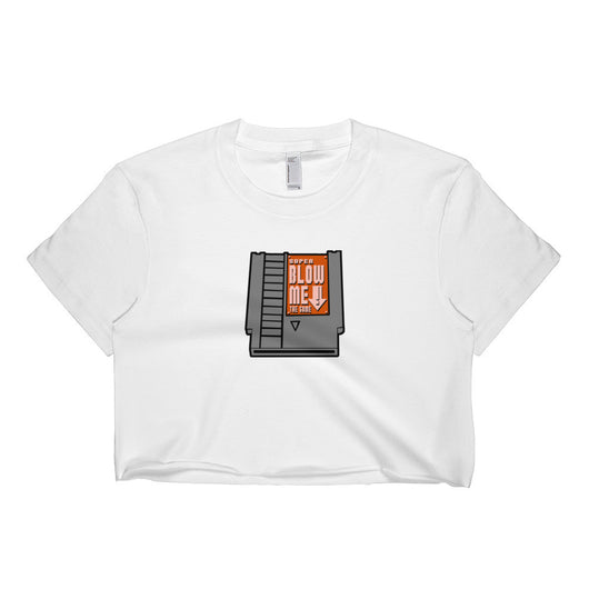 Super Blow Me Nintendo Cartridge Advice Parody Short sleeve crop top - Made in USA + House Of HaHa