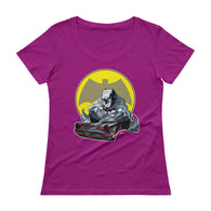 Lil' Batmobile Ladies' Scoopneck Women's T-Shirt + House Of HaHa Best Cool Funniest Funny T-Shirts