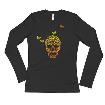 Butterfly Skull Ladies' Long Sleeve T-Shirt + House Of HaHa Best Cool Funniest Funny Gifts