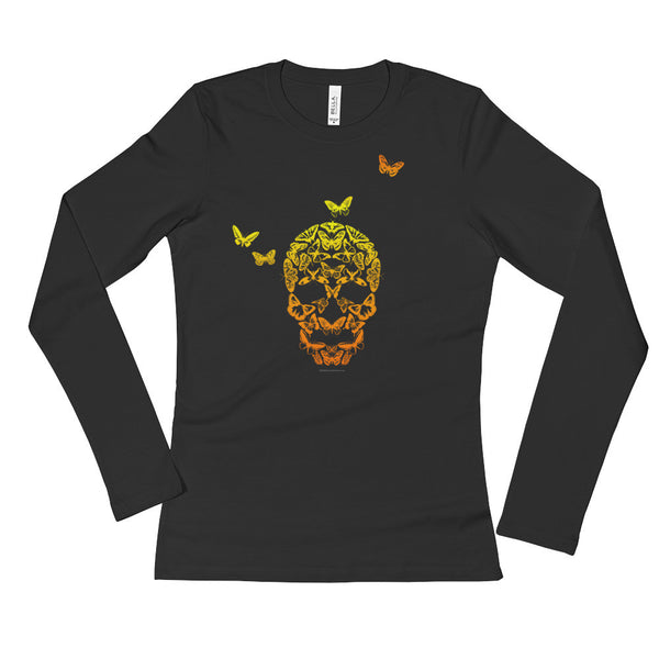Butterfly Skull Ladies' Long Sleeve T-Shirt + House Of HaHa Best Cool Funniest Funny T-Shirts