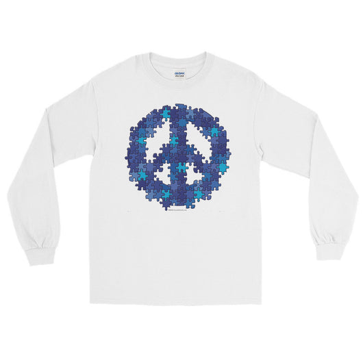 Puzzle Peace Sign Autism Spectrum Asperger Awareness Men's Long Sleeve T-Shirt + House Of HaHa
