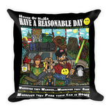 Have A Reasonable Day Camping Across America Square Pillow by Aaron Gardy + House Of HaHa Best Cool Funniest Funny Gifts