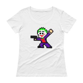 Joker Perler Art Ladies' Scoopneck T-Shirt by Silva Linings + House Of HaHa Best Cool Funniest Funny Gifts