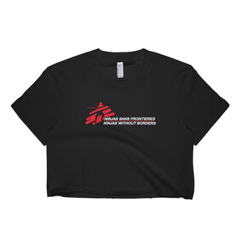 Ninjas without Borders Martial Arts Ninjutsu Fighter Short Sleeve Crop Top + House Of HaHa Best Cool Funniest Funny Gifts