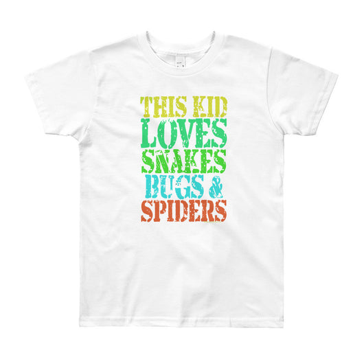 This Kid Loves Snakes Bugs Spiders Creepy Critters Youth Short Sleeve T-Shirt - Made in USA + House Of HaHa