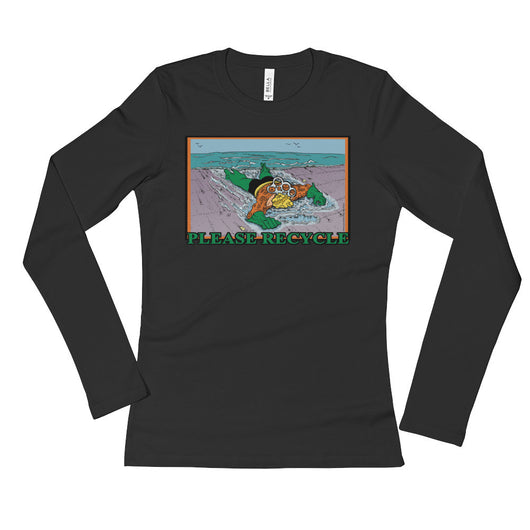 Please Recycle Ladies' Long Sleeve Women's Aquaman parody T-Shirt + House Of HaHa