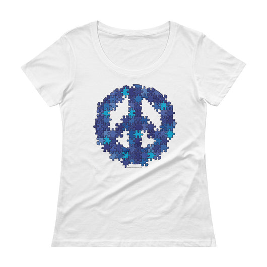 Puzzle Peace Sign Autism Spectrum Asperger Awareness Ladies' Scoopneck T-Shirt + House Of HaHa