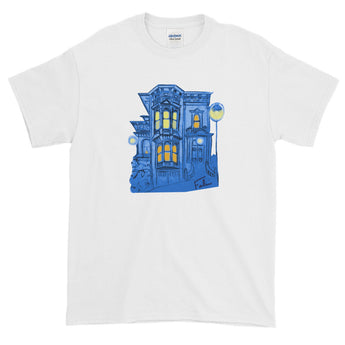 Blue Victorian San Francisco Short-Sleeve T-Shirt by Nathalie Fabri + House Of HaHa Best Cool Funniest Funny Gifts