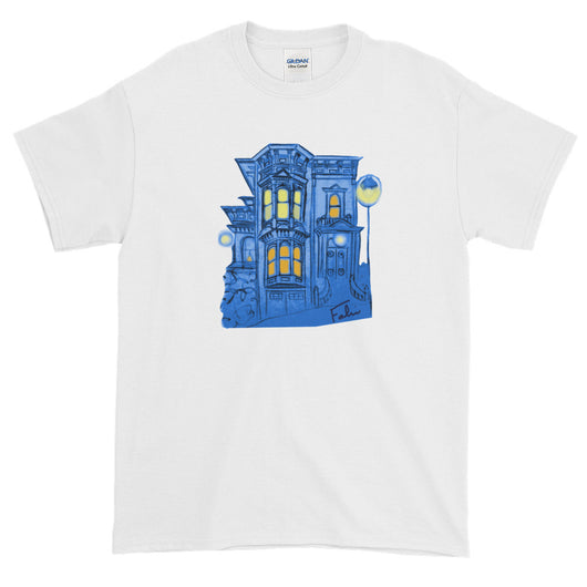 Blue Victorian San Francisco Short-Sleeve T-Shirt by Nathalie Fabri + House Of HaHa Best Cool Funniest Funny T-Shirts