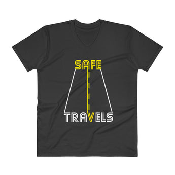Safe Travels Vacation Road Trip Highway Driving Men's V-Neck T-Shirt + House Of HaHa Best Cool Funniest Funny Gifts