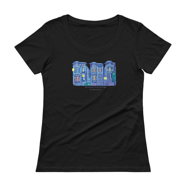 My Three Loves San Francisco Ladies' Scoopneck T-Shirt by Nathalie Fabri + House Of HaHa Best Cool Funniest Funny T-Shirts