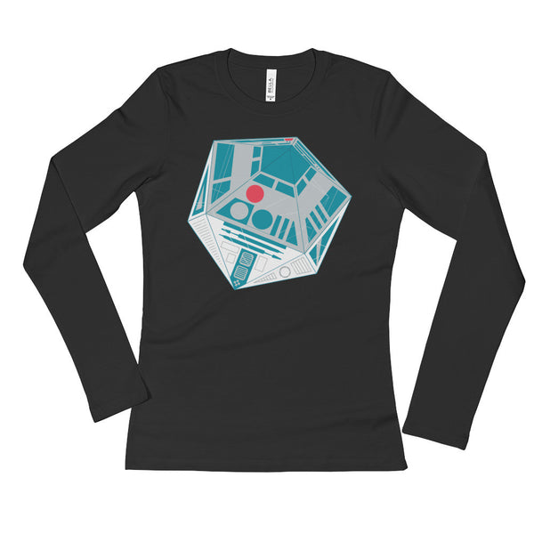 R2-D20 Star Wars Twenty Sided Gaming Die Ladies' Long Sleeve T-Shirt + House Of HaHa Best Cool Funniest Funny Gifts