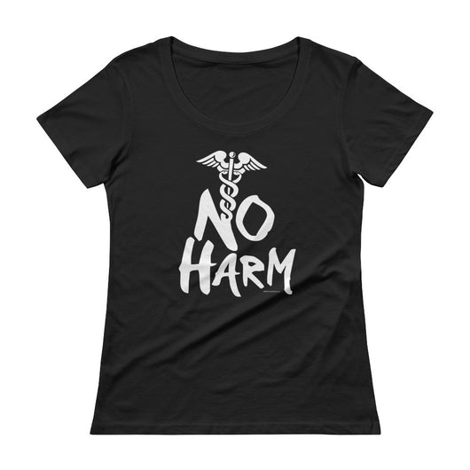 No Harm Caduceus EMT Paramedic Medical Symbol Ladies' Scoopneck T-Shirt + House Of HaHa