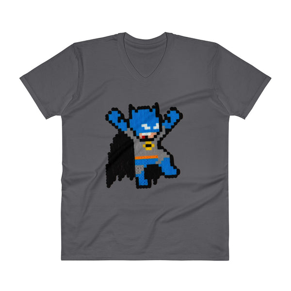 Batman Perler Art V-Neck T-Shirt by Silva Linings + House Of HaHa Best Cool Funniest Funny Gifts