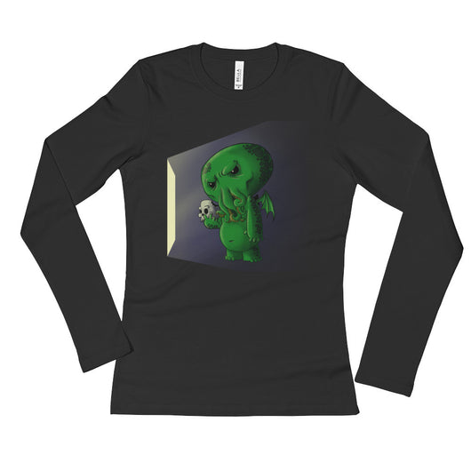 Midnight Snack Chibi Cthulhu Ladies' Long Sleeve T-Shirt + House Of HaHa