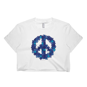 Puzzle Peace Sign Autism Spectrum Asperger Awareness Short Sleeve Crop Top - Made in USA + House Of HaHa Best Cool Funniest Funny Gifts