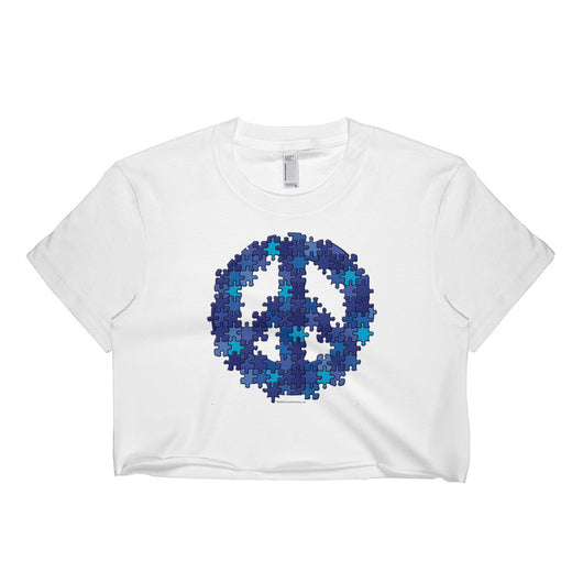 Puzzle Peace Sign Autism Spectrum Asperger Awareness Short Sleeve Crop Top - Made in USA + House Of HaHa