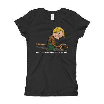 Why's Everybody Always Picking On Me? Aquaman Charlie Brown Mash-Up Girl's Princess T-Shirt + House Of HaHa Best Cool Funniest Funny Gifts
