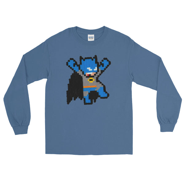 Batman Perler Art Long Sleeve T-Shirt by Silva Linings + House Of HaHa Best Cool Funniest Funny Gifts