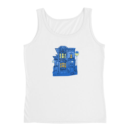 Blue Victorian San Francisco Ladies' Tank Top by Nathalie Fabri + House Of HaHa Best Cool Funniest Funny T-Shirts
