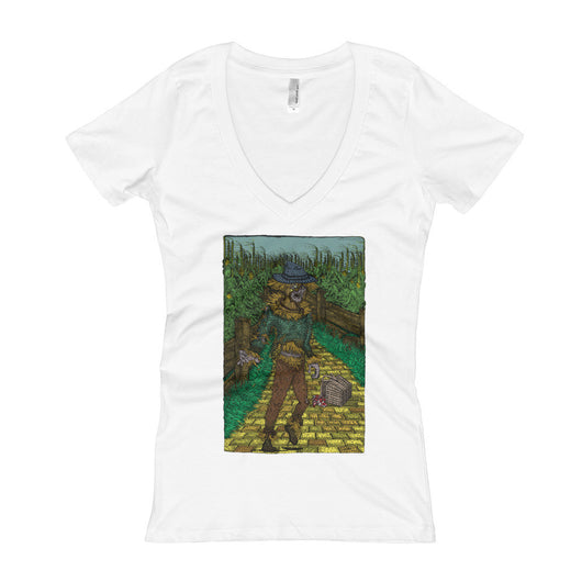 Walkers Of Oz: Zombie Wizard of Oz Cornfield Parody  Women's V-Neck T-Shirt + House Of HaHa Best Cool Funniest Funny T-Shirts