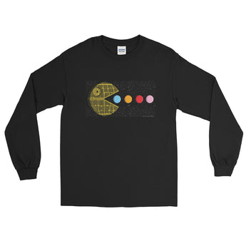 PAC-MOON Death Star Pac-Man Mashup Men's Long Sleeve T-Shirt by Aaron Gardy + House Of HaHa Best Cool Funniest Funny Gifts