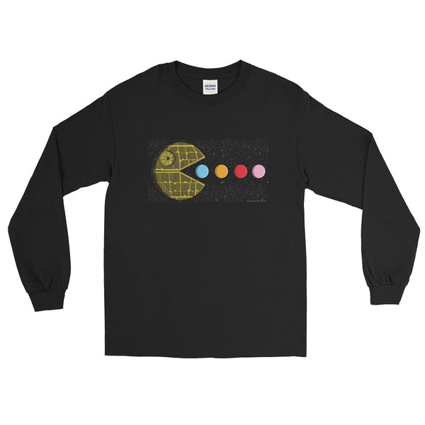 PAC-MOON Death Star Pac-Man Mashup Men's Long Sleeve T-Shirt by Aaron Gardy