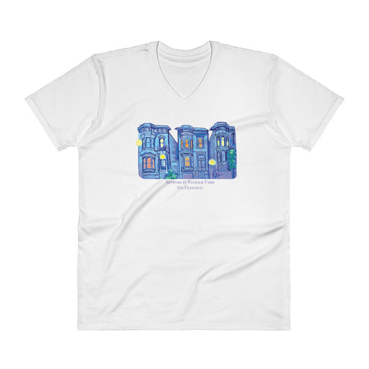 My Three Loves San Francisco V-Neck T-Shirt by Nathalie Fabri