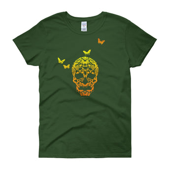 Butterfly Skull Women's Short Sleeve Ladies' T-Shirt - House Of HaHa