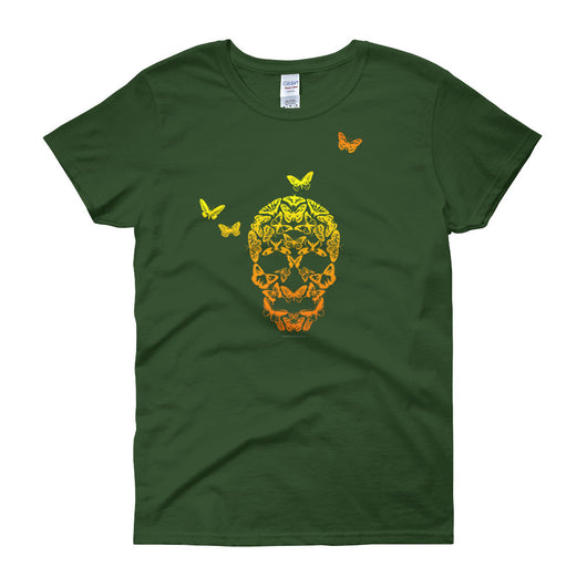 Butterfly Skull Women's Short Sleeve Ladies' T-Shirt + House Of HaHa Best Cool Funniest Funny T-Shirts