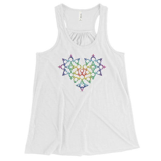 Rainbow Female Gender Venus Symbol Heart Love Unity Women's Flowy Racerback Tank + House Of HaHa