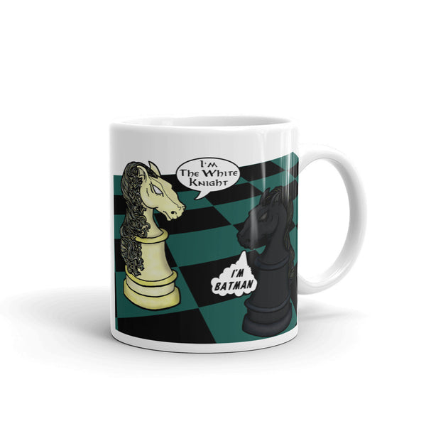 White Knight Dark Knight Batman Chess Match Pun Parody Mug + House Of HaHa