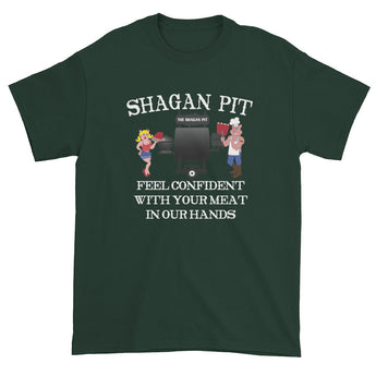 Shagan Pit Feel Confident with Your Meat in our Hands Men's Short Sleeve T-shirt + House Of HaHa Best Cool Funniest Funny Gifts