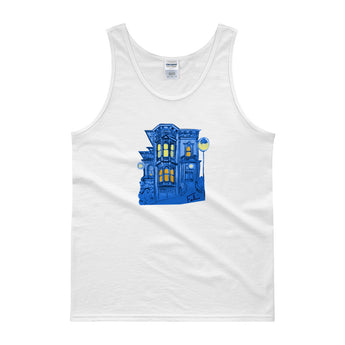 Blue Victorian San Francisco Tank Top by Nathalie Fabri + House Of HaHa Best Cool Funniest Funny Gifts