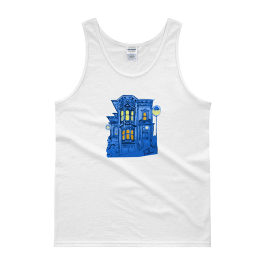 Blue Victorian San Francisco Tank Top by Nathalie Fabri + House Of HaHa Best Cool Funniest Funny T-Shirts