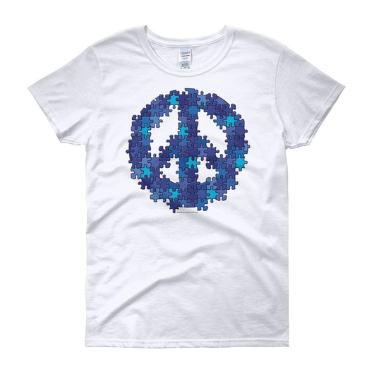 Puzzle Peace Sign Autism Spectrum Asperger Awareness Women's short sleeve t-shirt + House Of HaHa