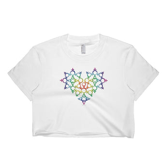 Rainbow Female Gender Venus Symbol Heart Love Unity Short Sleeve Crop Top - Made in USA + House Of HaHa Best Cool Funniest Funny Gifts