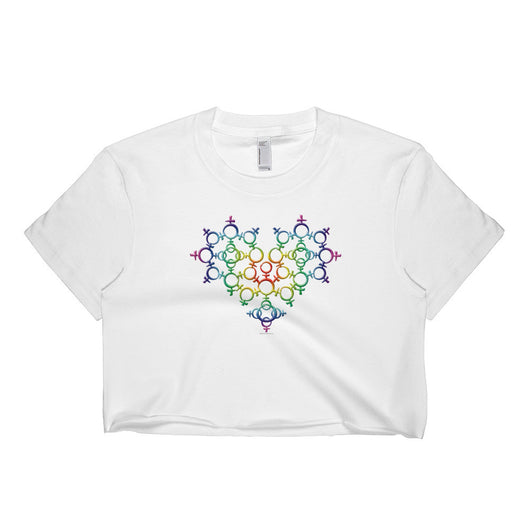 Rainbow Female Gender Venus Symbol Heart Love Unity Short Sleeve Crop Top - Made in USA + House Of HaHa