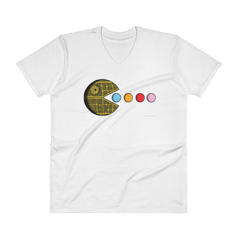 PAC-MOON Death Star Pac-Man Mashup Men's V-Neck T-Shirt by Aaron Gardy + House Of HaHa Best Cool Funniest Funny Gifts