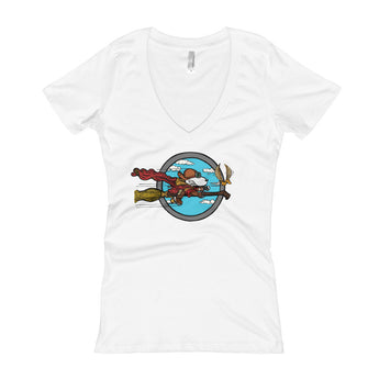 Wizard Flying Ace Women's V-Neck T-shirt + House Of HaHa Best Cool Funniest Funny Gifts
