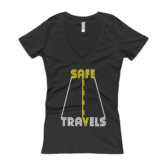 Safe Travels Vacation Road Trip Highway Driving Women's V-Neck T-shirt + House Of HaHa