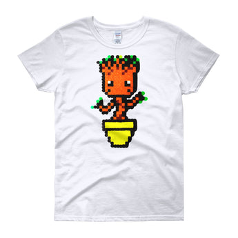 Baby Groot Perler Art Women's Short Sleeve T-Shirt by Aubrey Silva + House Of HaHa Best Cool Funniest Funny Gifts
