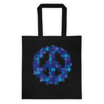 Puzzle Peace Sign Autism Spectrum Asperger Awareness Double Sided Print Tote Bag + House Of HaHa Best Cool Funniest Funny Gifts