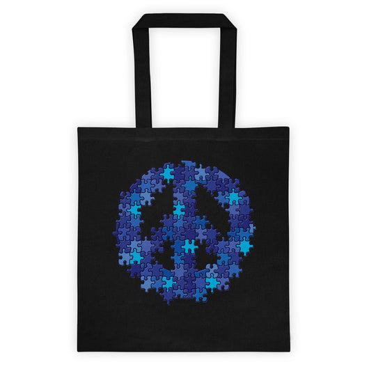 Puzzle Peace Sign Autism Spectrum Asperger Awareness Double Sided Print Tote Bag + House Of HaHa
