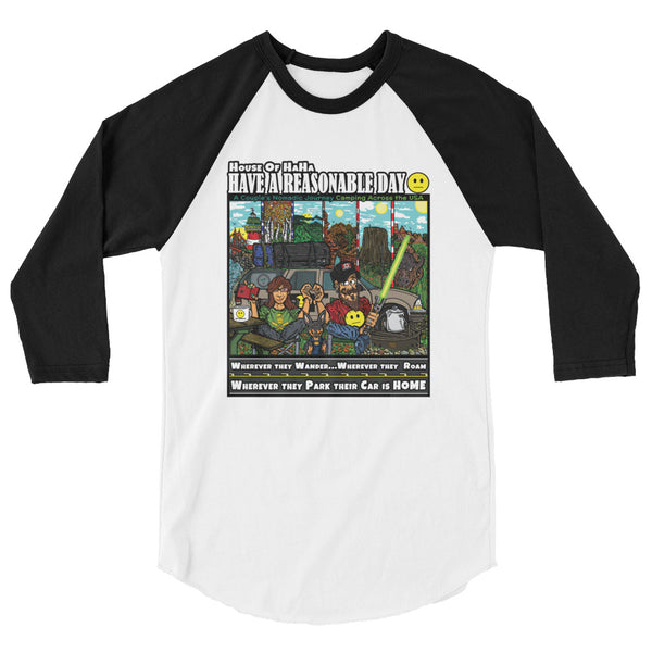 Have A Reasonable Day Camping Across America 3/4 sleeve raglan shirt by Aaron Gardy + House Of HaHa Best Cool Funniest Funny Gifts