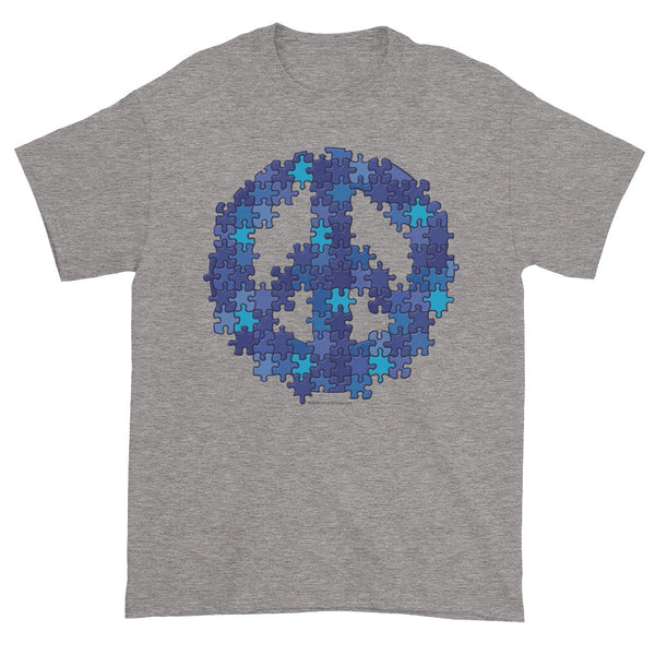 Puzzle Peace Sign Autism Spectrum Aspergers Awareness Men's Short Sleeve T-shirt + House Of HaHa Best Cool Funniest Funny Gifts