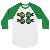 Ninja Turtles Perler Art 3/4 Sleeve Raglan Shirt by Aubrey Silva + House Of HaHa Best Cool Funniest Funny Gifts